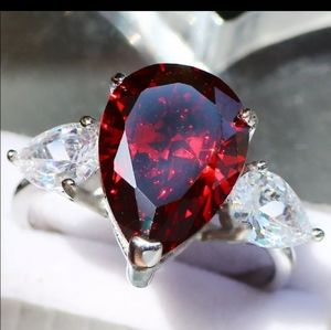 RUBY RED PEAR SHAPED RING 6,7,8,9 NEW